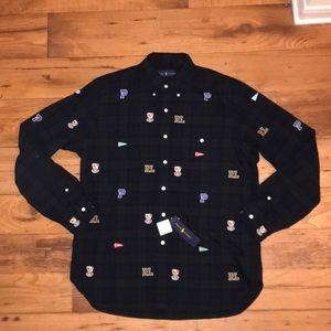 NWT POLO BY RALPH LAUREN ALL EMBROIDERED BUTTON UP